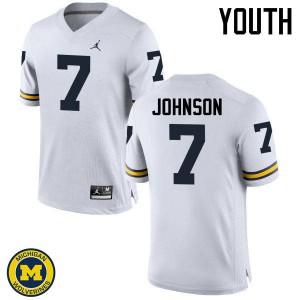 Michigan Wolverines #7 Shelton Johnson Youth White College Football Jersey 708847-650