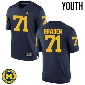 Michigan Wolverines #71 Ben Braden Youth Navy College Football Jersey 304415-139