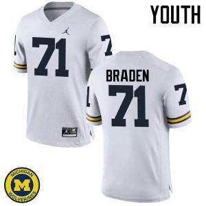Michigan Wolverines #71 Ben Braden Youth White College Football Jersey 543492-213