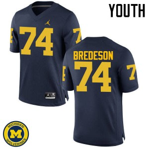 Michigan Wolverines #74 Ben Bredeson Youth Navy College Football Jersey 497049-841