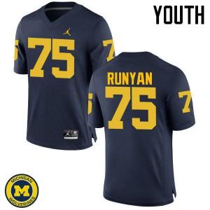 Michigan Wolverines #75 Jon Runyan Youth Navy College Football Jersey 961142-820