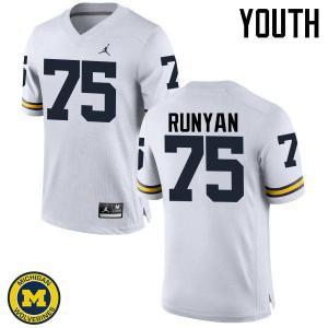 Michigan Wolverines #75 Jon Runyan Youth White College Football Jersey 250366-593