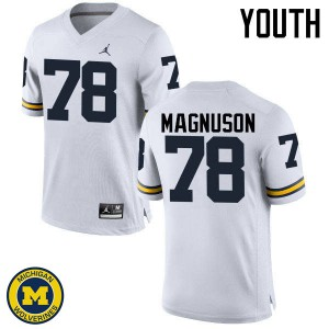 Michigan Wolverines #78 Erik Magnuson Youth White College Football Jersey 123472-335
