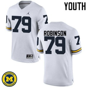 Michigan Wolverines #79 Greg Robinson Youth White College Football Jersey 614547-460