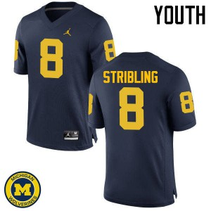 Michigan Wolverines #8 Channing Stribling Youth Navy College Football Jersey 302552-369
