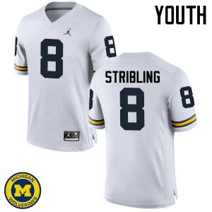 Michigan Wolverines #8 Channing Stribling Youth White College Football Jersey 338605-383