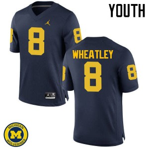 Michigan Wolverines #8 Tyrone Wheatley Youth Navy College Football Jersey 579422-861