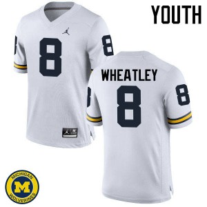 Michigan Wolverines #8 Tyrone Wheatley Youth White College Football Jersey 878790-926