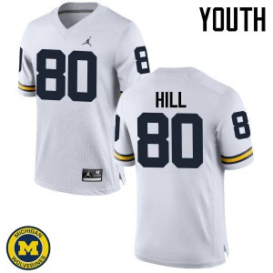 Michigan Wolverines #80 Khalid Hill Youth White College Football Jersey 458378-307