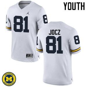 Michigan Wolverines #81 Michael Jocz Youth White College Football Jersey 266059-480