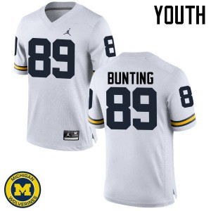 Michigan Wolverines #89 Ian Bunting Youth White College Football Jersey 756893-233