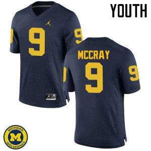Michigan Wolverines #9 Mike McCray Youth Navy College Football Jersey 548225-382