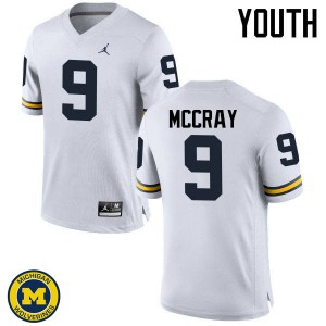 Michigan Wolverines #9 Mike McCray Youth White College Football Jersey 844460-855