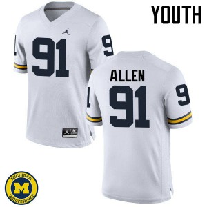 Michigan Wolverines #91 Kenny Allen Youth White College Football Jersey 374124-763