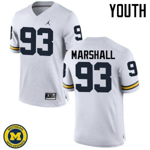 Michigan Wolverines #93 Lawrence Marshall Youth White College Football Jersey 121176-773
