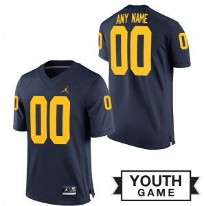 Michigan Wolverines #00 Custom Youth Navy Game Jersey 806575-959