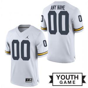 Michigan Wolverines #00 Custom Youth White Game Jersey 736567-902