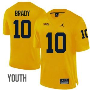 Michigan Wolverines #10 Tom Brady Youth Maize Stitched Jersey 596709-257