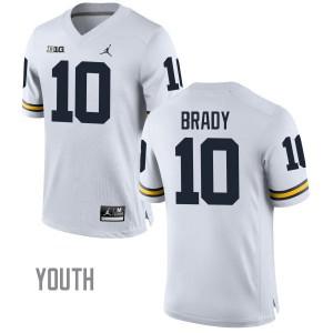 Michigan Wolverines #10 Tom Brady Youth White Stitched Jersey 238807-879